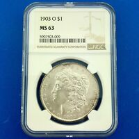 1903 O MORGAN SILVER DOLLAR NGC MINT STATE 63   KEY NEW ORLEANS WHITE COIN