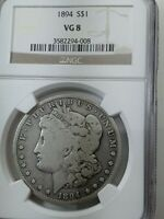 1894 P MORGAN SILVER DOLLAR NGC VG-8 MINTAGE ONLY 110,000  DATE PROBLEM FREE