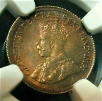 1920 CANADA 5 CENT SILVER CERTIFIED BY NGC MS 63 WITH NICE C