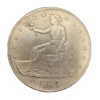 1874 S TRADE SILVER DOLLAR  CLEANED. NICE COIN GOOD DETAILS