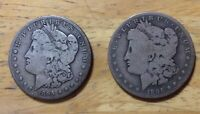 1895 O NEW ORLEANS AND 1895 S SAN FRANCISCO MINT SILVER MORGAN DOLLAR $1