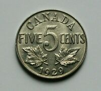 1929 CANADA GEORGE V NICKEL COIN   5 CENTS   SCRATCHES  OBVE