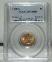 1908 S 1 ONE CENT INDIAN HEAD COIN PCGS MS64RD