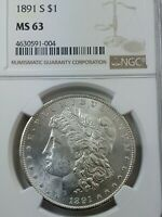 1891-S MORGAN SILVER DOLLAR GRADED MINT STATE 63 NGC - BLAST WHITE  PQ ATTRACTIVE COIN