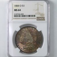 1884-O MORGAN $1 NGC CERTIFIED MINT STATE 64 NEW ORLEANS MINT TONED OBVERSE SILVER DOLLAR