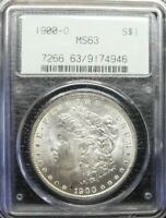 1900-O  MORGAN SILVER DOLLAR  PCGS MINT STATE 63  OLD 2-PC HOLDER