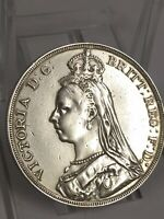 1889 QUEEN VICTORIA GREAT BRITAIN SILVER CROWN COIN WITH BOX