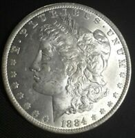 1884 O MORGAN SILVER DOLLAR AU-UNC WITH GREAT MINT LUSTER
