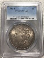1882-S $1 MORGAN SILVER DOLLAR PCGS MINT STATE 63