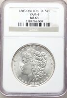 1883-O/O NGC MINT STATE 63 VAM-4 STRONG O OVER O MORGAN SILVER DOLLAR TOP 100 LUSTROUS
