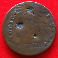 1787 COLONIAL FUGIO CENT   WELL WORN & DAMAGE   FULL DATE