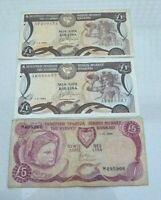 LOT OF 3 DIFFERENT CYPRUS CYPRIOT 1 5 BANKNOTES 1990 1994 PICK53 54