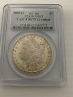 1880 O PCGS MINT STATE 62 VAM 4 80/79 CROSSBAR TOP 100 MORGAN SILVER DOLLAR COIN