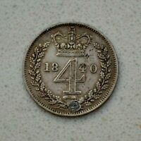 OLD 1840 GREAT BRITAIN BRITISH MAUNDY 4 PENCE GROAT SILVER COIN  NICE