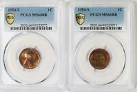 2X 1954-S PCGS 1C LINCOLN WHEAT CENT/PENNY MINT STATE 66RB MATCHING PAIR EOR TONED