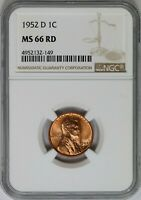 1952-D NGC 1C LINCOLN WHEAT CENT/PENNY BU UNC MINT STATE 66RD RED SIMILAR AS SHOWN