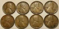 1909VDB,1909, 1910, 1911, 1912, 1913, 1914, 1915 LINCOLN WHEAT CENTS LOT OF 8