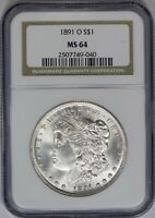 1891-O NGC SILVER MORGAN DOLLAR MINT STATE 64 TOUGH MINT STATE NEW ORLEANS COIN