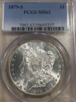 1879-S MORGAN SILVER DOLLAR PCGS MINT STATE 63 SHIPS FREE