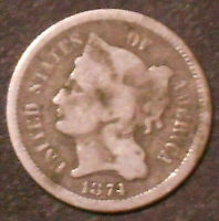 1874-P NICKEL THREE CENT PIECE. SHIPS FREE