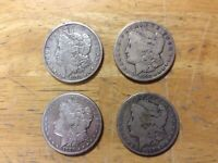 FOUR 4  CARSON CITY 1878 CC 1879 CC 1883 CC 1890 CC SILVER MORGAN DOLLAR $1