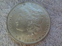 1887 MORGAN SILVER DOLLAR EXTRA FINE  $1 US MINT COIN 90 SILVER  GEM CAMEO CLEANED