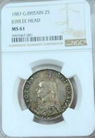 1887 GREAT BRITAIN SILVER 2 SHILLINGS VICTORIA JUBILEE HEAD NGC MS 61