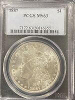 1887 MORGAN SILVER DOLLAR MINT STATE 63 PCGS 90 SILVER $1 US COIN COLLECTIBLE