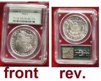 1880-S $1 MORGAN SILVER DOLLAR COIN PCGS MINT STATE 63 OGH GREEN LABEL HOLDER