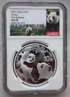 NGC MS70 2021 CHINA 30G SILVER PANDA COIN FIRST RELEASES, PANDA LABEL