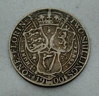 OLD 1900 GREAT BRITAIN BRITISH SILVER FLORIN  2/   COIN  VICTORIA NICE