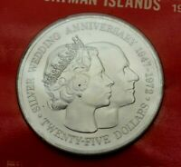 1972 CAYMAN ISLANDS LARGE STERLING SILVER $25 CROWN SIZE COIN  NICE