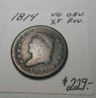 1814 EARLY CLASSIC U.S. LARGE CENT - ORIGINAL - NEVER CLEANED - CHOCOLATE BROWN