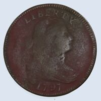 RAW 1797 DRAPED BUST 1C CIRCULATED EARLY COPPER LARGE CENT C