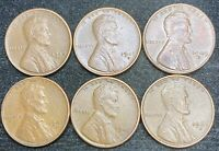 1944-1949 S LINCOLN WHEAT PENNIES 6 COINS- SHIPS FREE