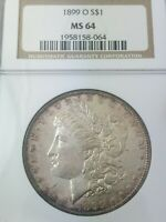 1899-O MORGAN SILVER DOLLAR MINT STATE 64 BY NGC - AWESOME PURPLE IRIDESCENT RIM TONING