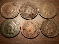 LOT OF 6 1864 INDIAN HEAD CENT PENNIES