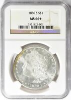 1880-S $1 MORGAN SILVER DOLLAR, NGC MINT STATE 66