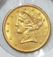 1882 $5 GOLD LIBERTY QUARTER EAGLE AU OR MS SLIDER