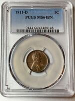 1911-D  LINCOLN CENT   PCGS MINT STATE 64 BN   BETTER DATE
