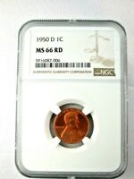 1950-D MINT STATE 66 NGC RED LINCOLN CENT