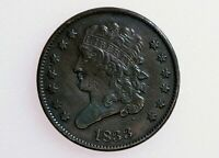 1833 CLASSIC HEAD HALF CENT 13 STARS EARLY COPPER 1/2 PENNY LOW MINTAGE 103,000