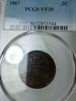 1867 TWO CENT 2C PIECE GRADED VF-30 BY PCGS  EYE APPEAL
