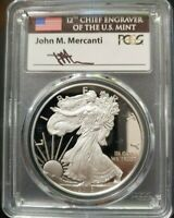 2018 W PCGS PROOF PR 70 DCAM FDOI MERCANTI LABEL SILVER EAGLE POP 327 FUN SHOW
