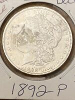 1892-P MORGAN DOLLAR TONING KEY DATE  LUSTER AND UNC DETAILS COIN ROLL PULL