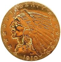 1910 $2.50 DOLLAR UNITED STATES INDIAN HEAD QUARTER EAGLE GOLD COIN 2.1/2  C20