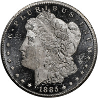 1885-CC MORGAN DOLLAR NGC MINT STATE 62DPL DEEP PROOFLIKE, LIBERTY AND EAGLE IN CAMEO