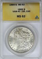 1889-P ANACS SILVER MORGAN DOLLAR MINT STATE MINT STATE 62 VAM-40 DOUBLED EAR