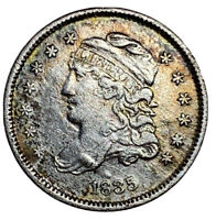 1835 CAPPED BUST HALF DIME.  COLORFUL VF/XF DETAILS
