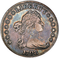1798 BUST DOLLAR LARGE EAGLE, POINTED 9, WIDE DATE, B-12, BB-120, R4, ANACS VF35